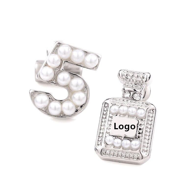 JIOROMY 2020 New Fashion Perfume Bottle Pattern Earings Women's Accessories Gold Brand N5 Pearls Stud Earings Jewelry
