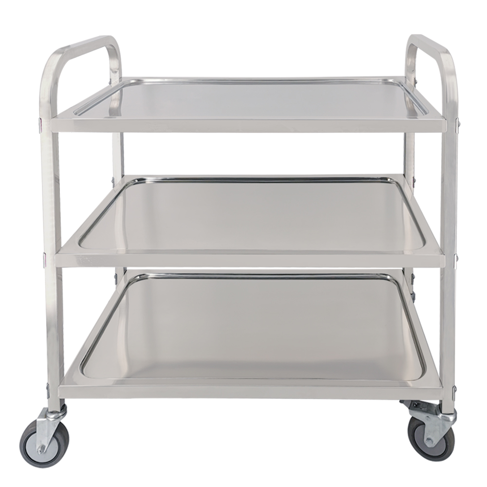 Stainless Steel Restaurant Kitchen Catering Serving Trolley Cart Rolling Utility Cart Shelf Transport Saving Storage Rack