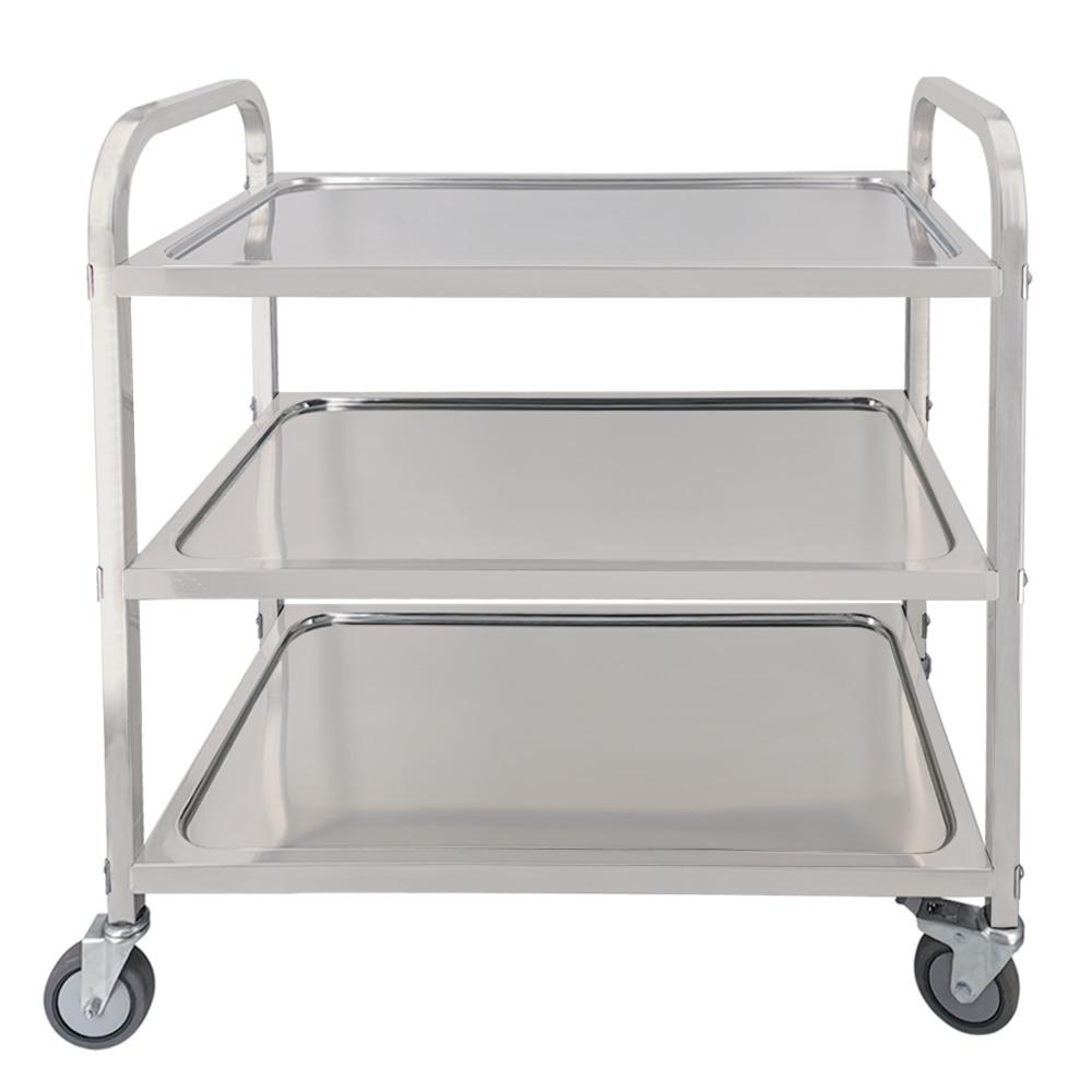 Stainless Steel Restaurant Kitchen Catering Serving Trolley Cart Rolling Utility Cart Shelf Transport Saving Storage Rack