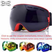 Lunettes de Ski, lunettes de Snowboard Double couche Anti-buée UV400 lentille grand masque hommes femmes hiver neige motoneige Gafas Ski lunettes
