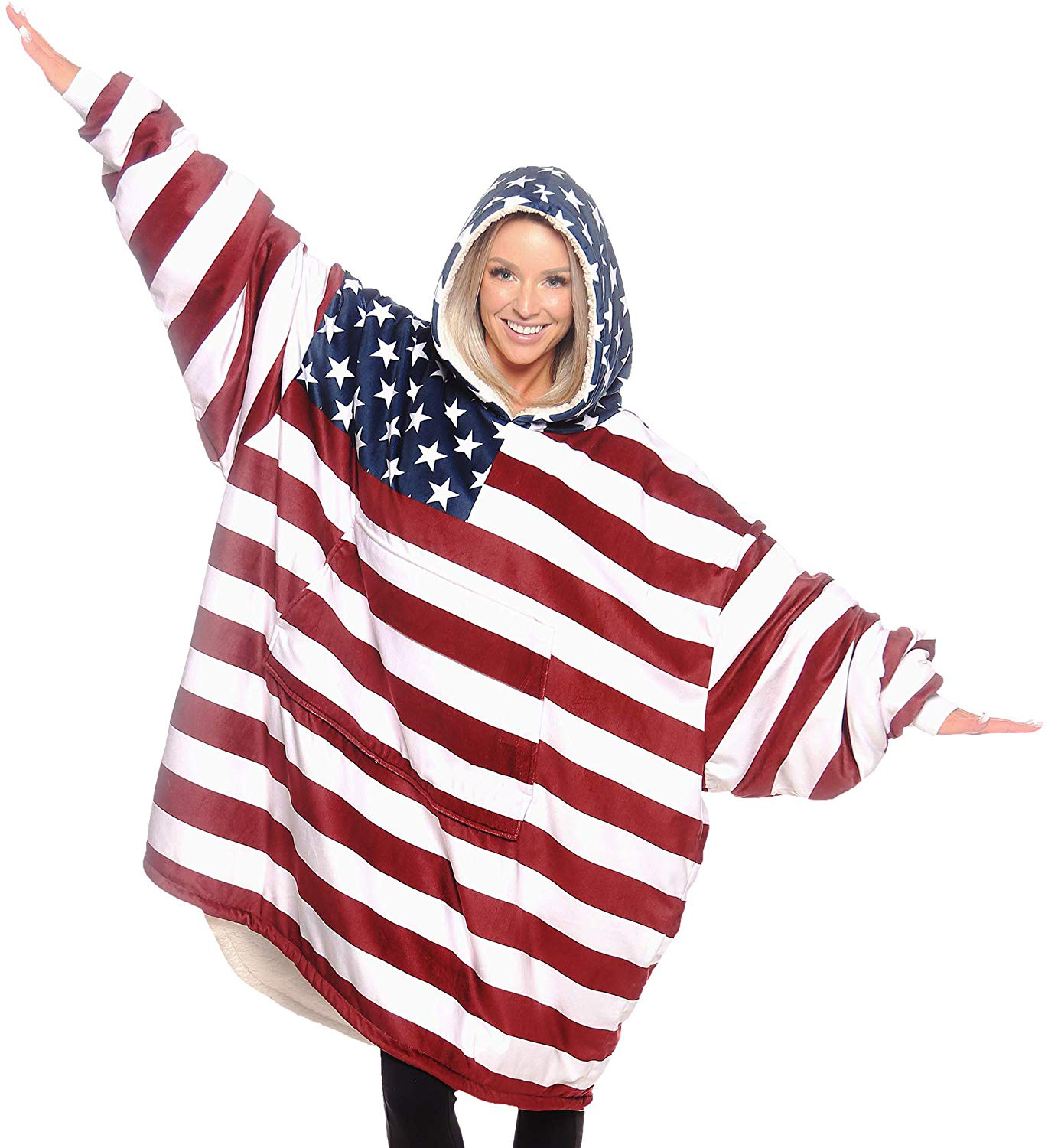 Red Thin Line USA Flag Students Hoodie Sweater Pullover Drawstring Pocket Casual Sweat Shirt for Gril