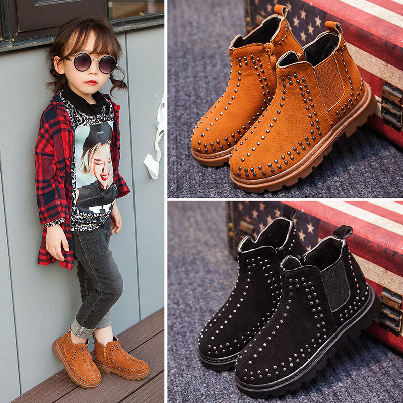 Children Girls Autumn Winter Rivet Martin Ankle Boots For Girls Boys Brown School Boots Shoes New 2019 4 5 6 7 8 10 12 Years