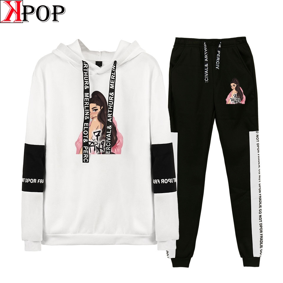Ariana Grande sports wear for women gym 2 Piece Set Women Hip Hop Hoodies Sweatshirts  Fashion Cool Hooded Casual Sport Suit