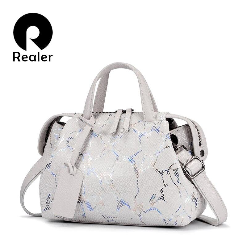 REALER Genuine Leather Women Bag Totes Serpentine Prints Handbag Boston Bag Large Shoulder Crossbody Bag For Women Messenger Bag