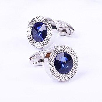Blue Crystal Cone Cufflinks Men Classic Brand Blue Prismatic Cuff Button Designer High Quality Men's Shirt Taper Cuff Links