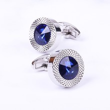 Blue Crystal Cone Cufflinks Men Classic Brand Blue Prismatic Cuff Button Designe