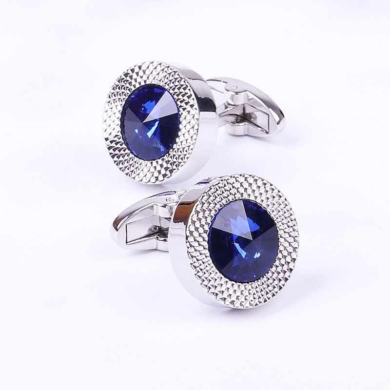 Gemelos de cono de cristal azul para hombre, gemelos cónicos de marca clásica, diseño de botón de puño prismático azul, gemelos cónicos de alta calidad para hombre