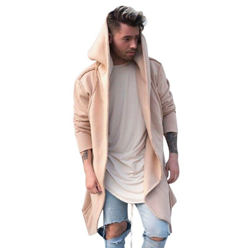 Hf6bb3e70ecf647fcb0f32bd6e18d9125X Vintage Men Autumn Winter Hoodies Jacket Long Cardigan Coat Casual Hip Hop Solid Pocket Jacket Hooded Outwear Veste Homme