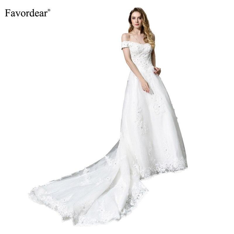 Favordear белый/слоновой кости аппликация с плеча длинным шлейфом свадебное платье Vestido De Noiva принцесса элегантное платье невесты с отделкой