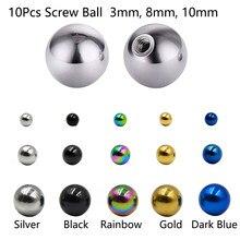 Bolas de substituição de aço inoxidável, 10 peças, mistas, esferas de substituição, piercing de joia do corpo, peças de barbell, 16g 14g, bolas superior acessório