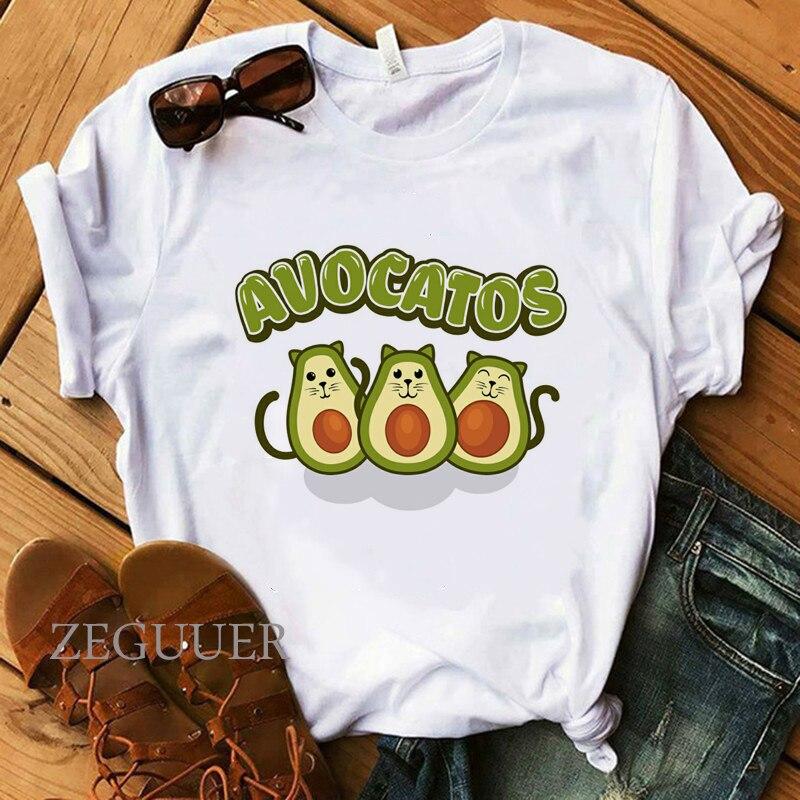 Women Tops Kawaii Avocados T-Shirt 100% Cotton Soft O-Neck White Casual Girl Tees Summer Starry Night Cute Cat T-Shirt