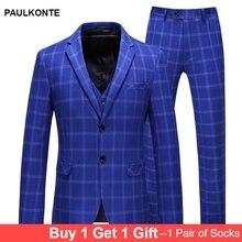 PAULKONTE (Jacket+Vest+Pant) 2019 New Plaid Men Suit Fashion High Quality Business Party Wedding Slim Fit Classic Mens