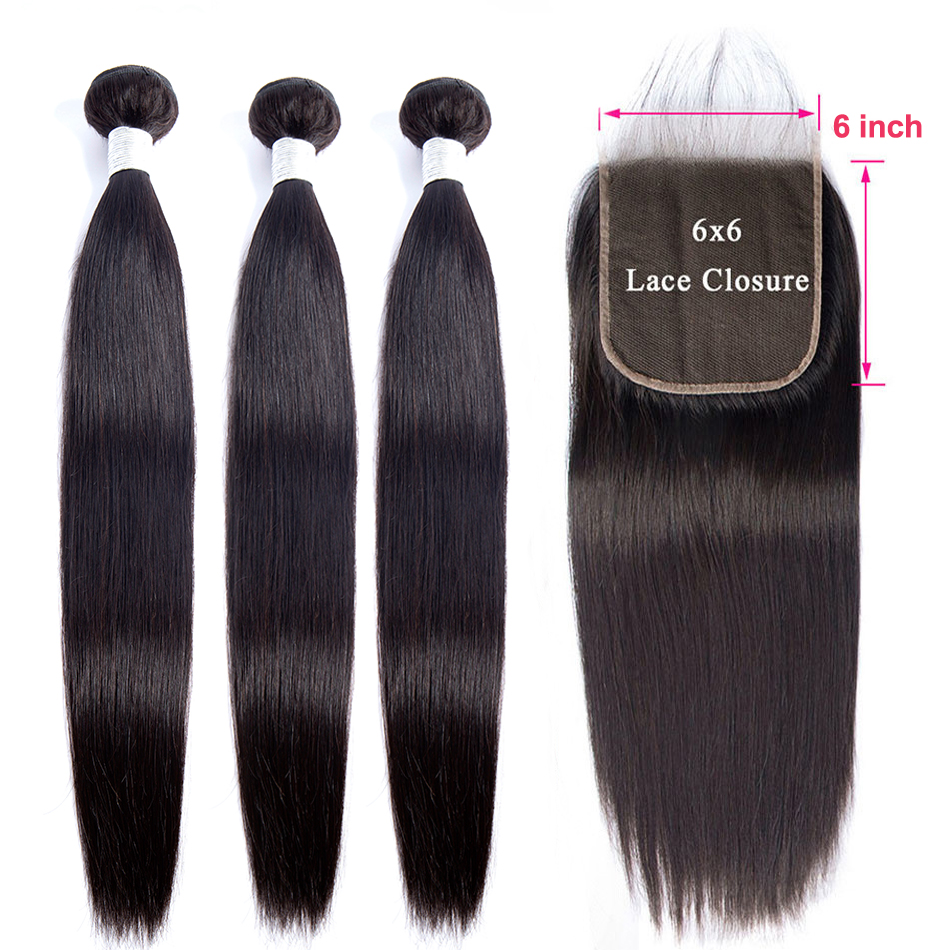 Virgo Brazilian Straight Hair Bundles With Closure Remy 6x6 Lace Closure And Bundles Weave Human Hair Bundles With Closure 4 PCS