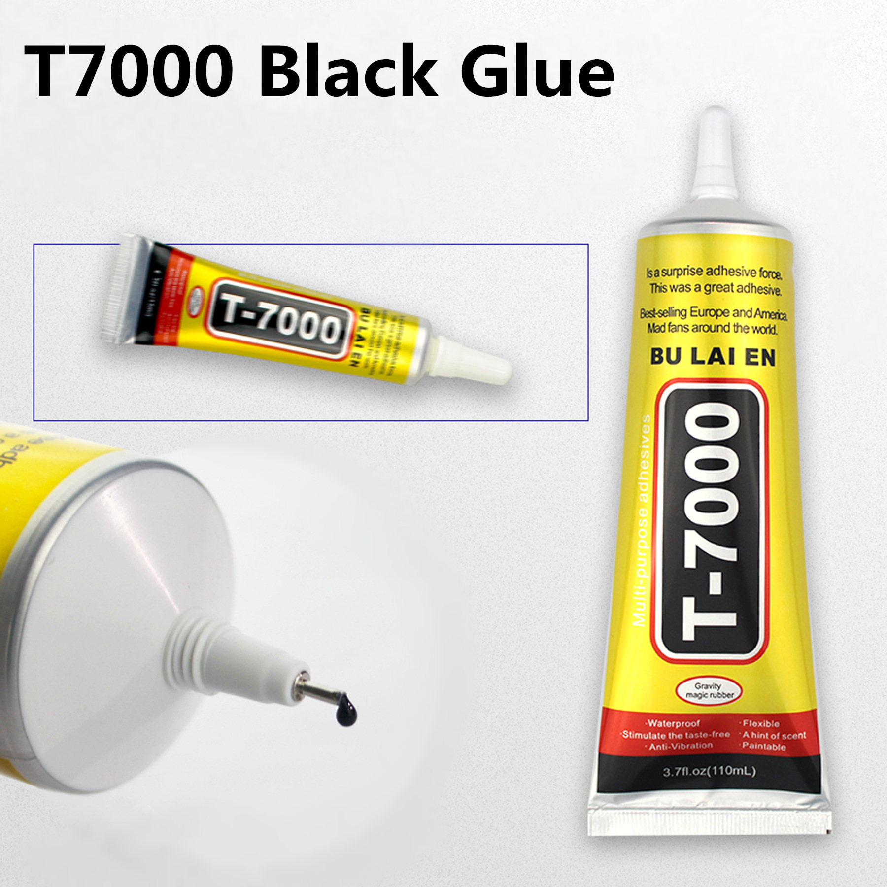 <font><b>T7000</b></font> <font><b>110ml</b></font> Super Black Liquid Glue Rhinestone Jewelry DIY Phone Screen Glass Frame Sealant Multipurpose Epoxy Resin Adhesive image