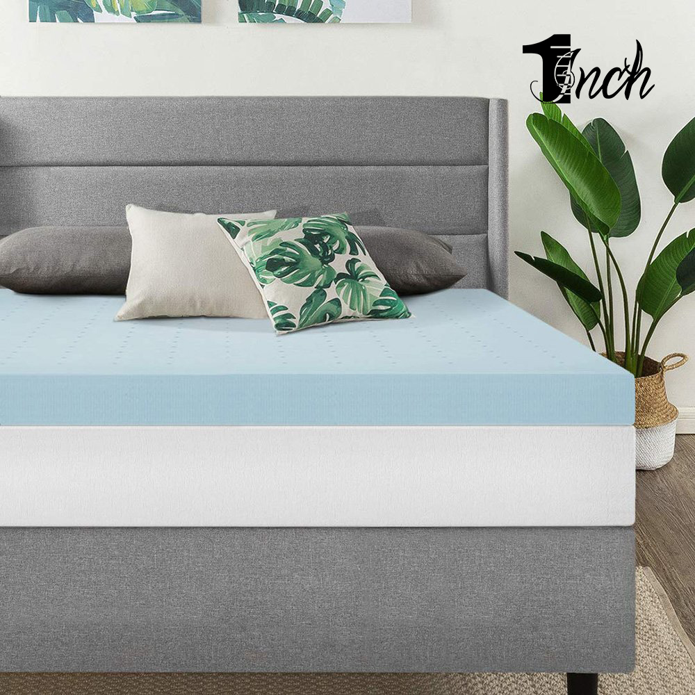 1inchome 3/4INCH GEL MEMORY MATTRESS TOPPER ALL SIZE BAMBOO MATTRESS TOPPER CHARCOAL GEL INFUSED MEMORY FOAM MATTRESS PAD BED