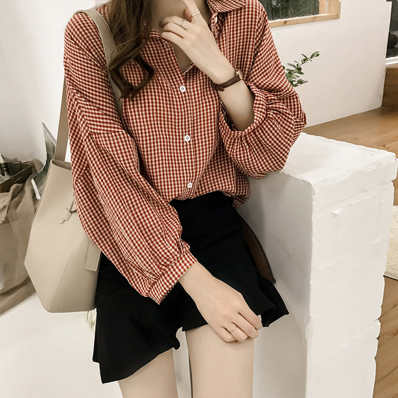 Korean Puff Sleeve Women Tops and Blouse 2021 Spring Plaid Shirt Women Plus Size Office Lady Blouse 4XL Clothes Blusas 8809 50 3