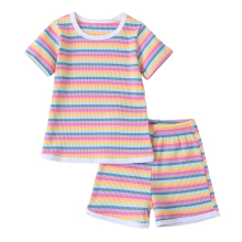 Pudcoco 1-6Y Summer Infant Baby Girls Little Girls 2pcs Outfit Set Rainbow Striped Knitted Short Sleeve o-neck Top Elastic girls off shoulder flounce sleeve striped top