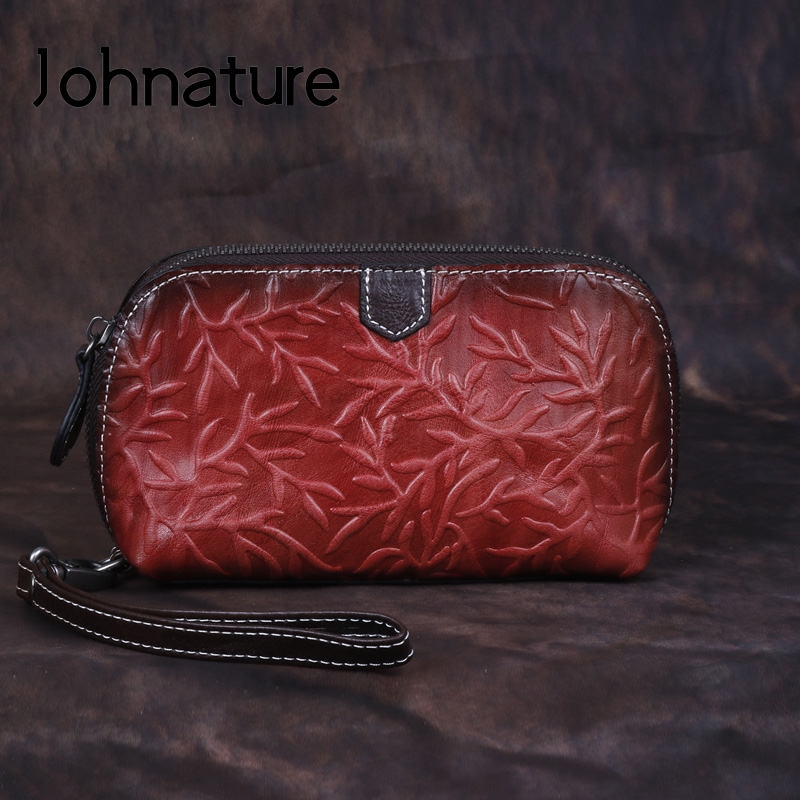 Johnature Retro Luxury Hand Wallet 2019 New Genuine Leather Handmade Embossing Womens Wallets And Purses Leisure Day Clutches