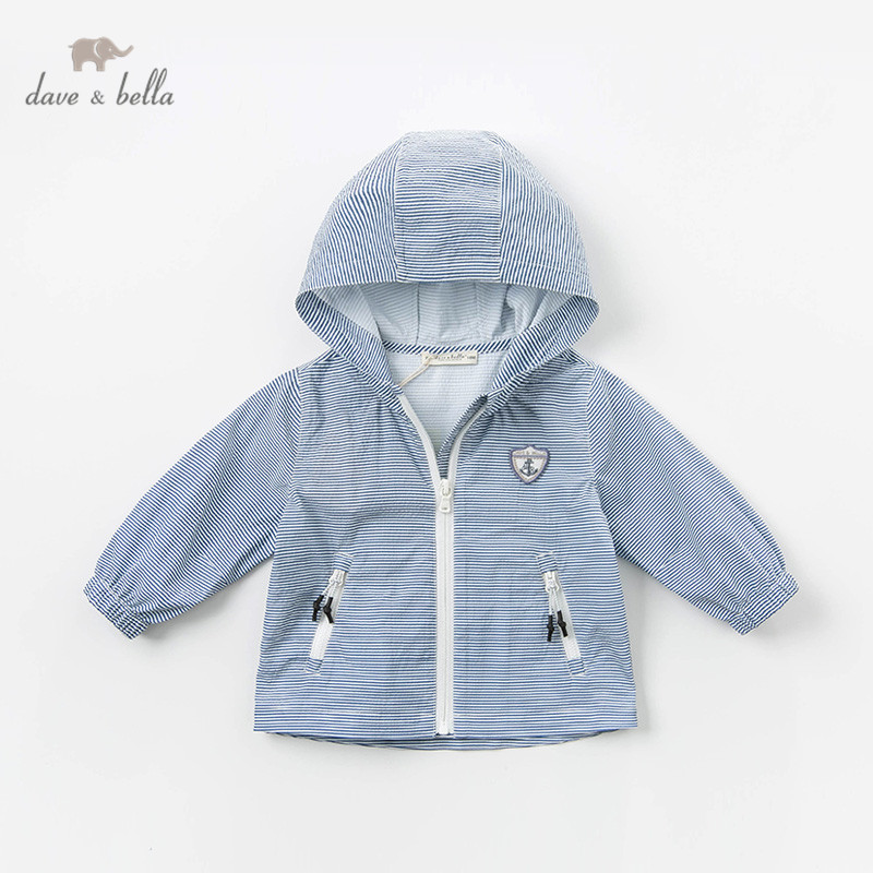 DB13085 Dave Bella Spring Baby Boy Striped Jacket Children Fashion Outerwear Kids Hooded Zipper Coat