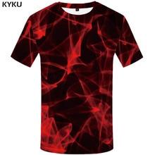 KYKU Psychedelic T shirt Men Space Galaxy Tshirt Printed Flame T-shirts 3d Red Anime Clothes Harajuku Shirt Print Short Sleeve