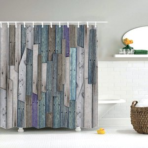 Image 5 - Dafield Fabric Rustic Vintage Old Wooden Door Decorations Bathroom Polyester Waterproof Washable Wood Door Shower Curtain
