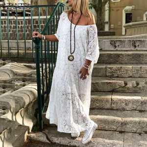 Image 1 - ZANZEA 2020 Delle Donne Del Crochet Del Merletto Maxi Vestito Lungo di Estate O Collo 3/4 Del Partito Del Manicotto Abiti Robe Femme Della Boemia Vestito Estivo Casual vestito