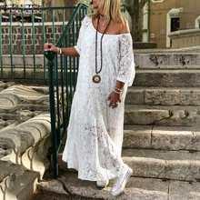 ZANZEA 2020 kadın dantel tığ Maxi uzun elbise yaz O boyun 3/4 kollu parti Vestidos Robe Femme Bohemian Sundress rahat elbise