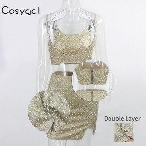 Image 5 - COSYGAL блестящие Клубные наряды на тонких лямках, сексуальный женский стиль и юбка, комплект из двух предметов для новечерние
