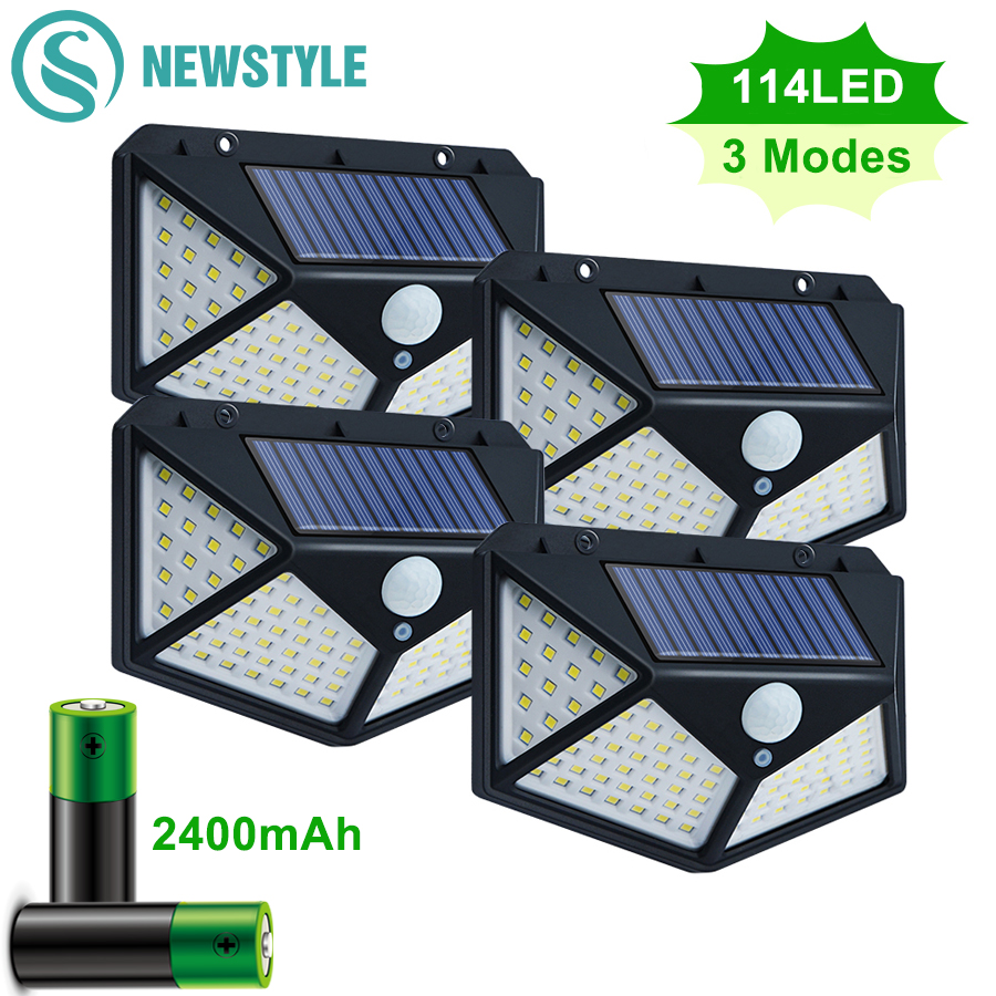 100 114 LED Solar Light Outdoor Waterproof Solar Powered Lamp PIR Motion Sensor Street Light for Garden Decoration 3 Modes
