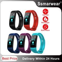 Estoque final y5 pulseira inteligente relógio bluetooth tela colorida freqüência cardíaca monitor de pressão arterial esporte fitness pedômetro