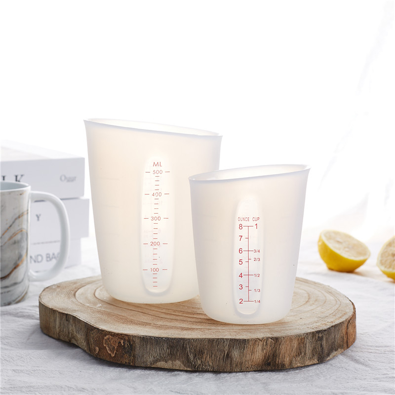 Silicone Baking Measuring Cup Visual Scale Metering Cup 500ml 250ml Food Grade Silicone Measuring Cups Kitchen Accessories Tool