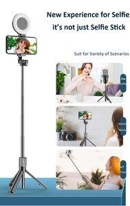 Image 3 - Vara sem fio de bluetooth selfie com tripé led anel luz extensível dobrável monopod handheld selfie vara para iphone samsung