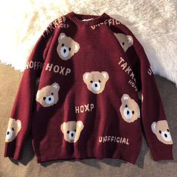 New Year's cute bear wine red sweater spring couple outfit loose wild pullover sweater for men and women 2021 net red sweater 1
