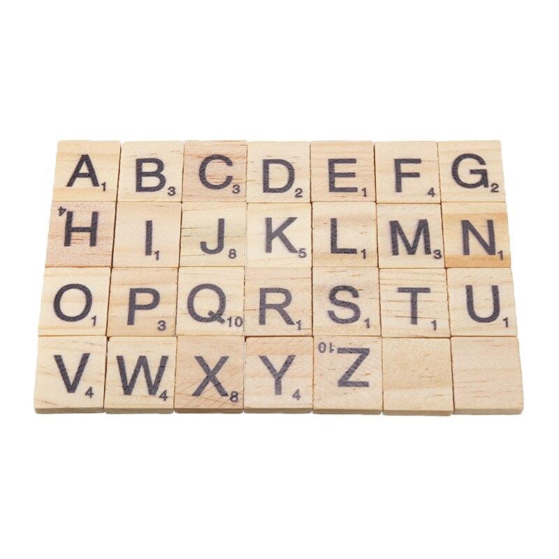 100 шт Деревянные английские слова DIY микс деревянных Эрудит плитки ремесло буквы Алфавит головоломка доска для игры игрушка подарок