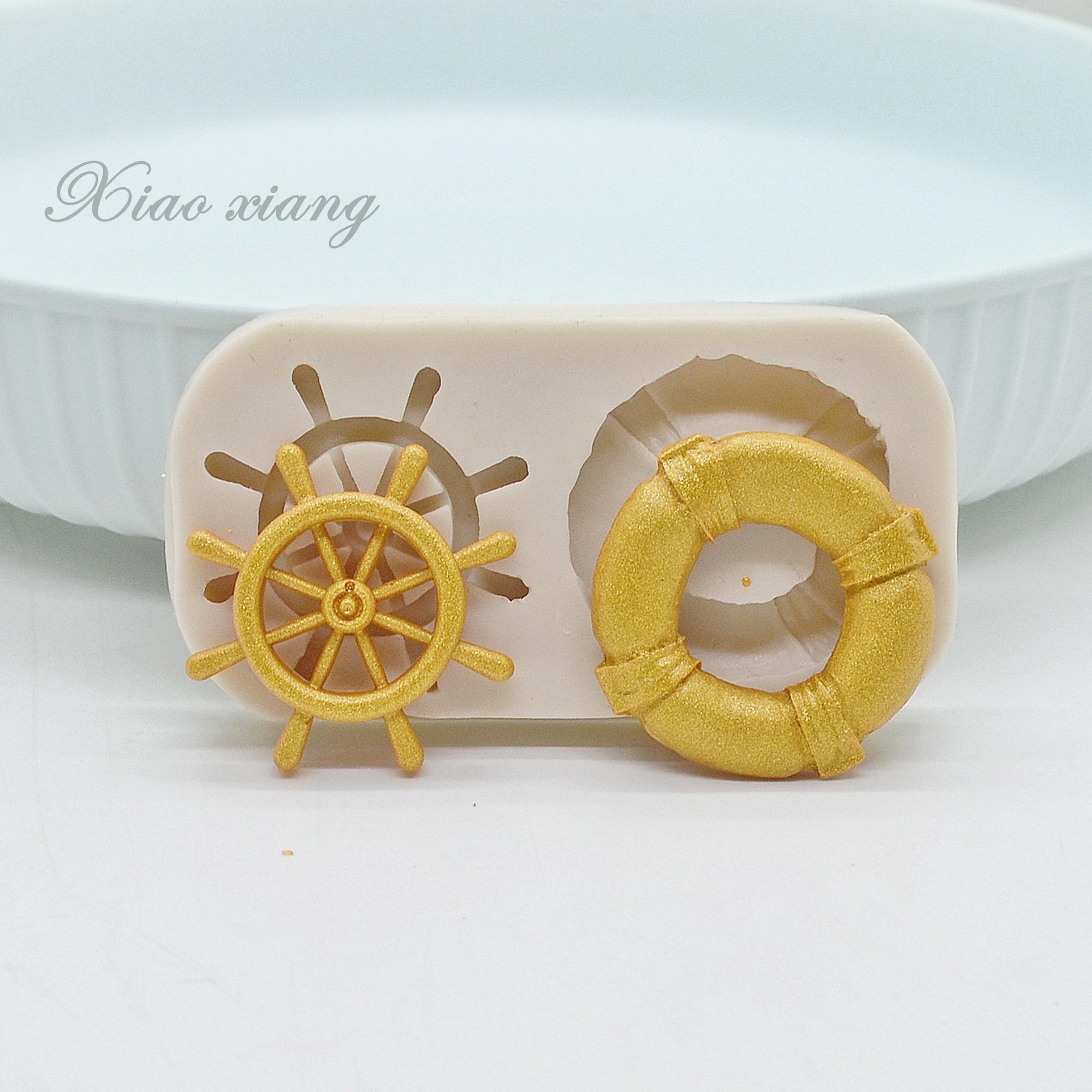 Штурвала и спасательный круг Форма силиконовая форма для выпечки формы для выпечки Форма для шоколада для торта декоративные инструменты а...