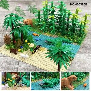 Image 3 - Rainforest Baseplate Parts Animal Green Grass Jungle Bush Flower Tree Plants Building Blocks DIY MOC Assemble Children Toy Gifts
