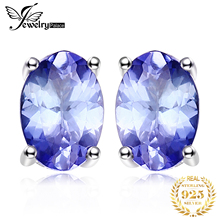 JewelryPalace 925 Sterling Silver 1ct Natural Tanzanite Stud Earrings Statement Fashion for Women Fine Jewelry