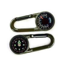 Alta qualidade Mini Compass + Termômetro + Gancho 3-em-1 Multifuncional Caminhadas Mosquetão de Metal Sensível guia
