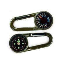 Wysokiej jakości Mini kompas + termometr + karabińczyk 3 w 1 wielofunkcyjny piesze wycieczki karabińczyk metalowy wrażliwe przewodnik tanie tanio Wiszące pierścień typu Thermometer compass carabiner Outdoor double-sided mountaineering key hang buckle