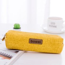 Creative pencil bag canvas Korea large capacity case Student female simple Pencil