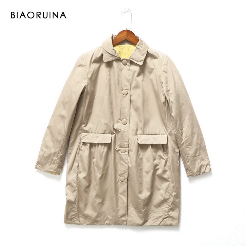 BIAORUINA Women's Casual Solid A-line Reversible Quilted Coat Covered Button Female Fashion Keep Warm Windproof   Trench   Coat