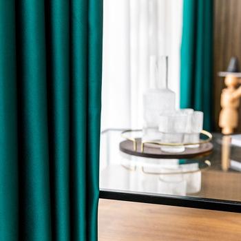 Skandynawska minimalistyczna wysokiej jakości solidna pełna zasłona zaciemniająca salon sypialnia kucie powierzchni precyzyjne jedwabne zasłony tanie i dobre opinie ZJBYZHOUSEHOLD Wysoka Cieniowania (70 -90 ) Kurtyny Otwieranie po lewej i po prawej stronie CN (pochodzenie) Okno Montaż sufitowy
