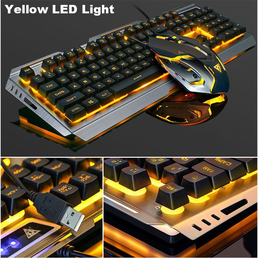 Cloudro Keyboard Mouse Set,2.4G Wireless Rechargeable LED Backlit USB Ergonomic Gaming Keyboard Mouse Sets White