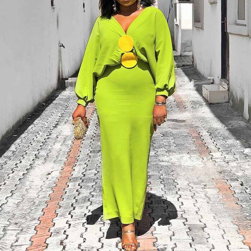 Bright Green Maxi Dress Women African Autumn Party Dinner Evening V-Neck Lantern Sleeve Bodycon Dress Robe Elegant Vestiods 2019