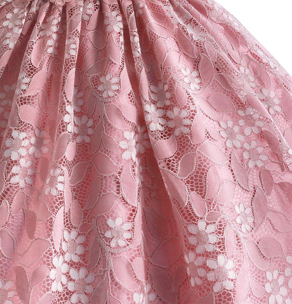 Zoeflowerins Flower Belt Thin Lace Children Shirt Pure Cotton Wedding Dress Princess Dress Powder