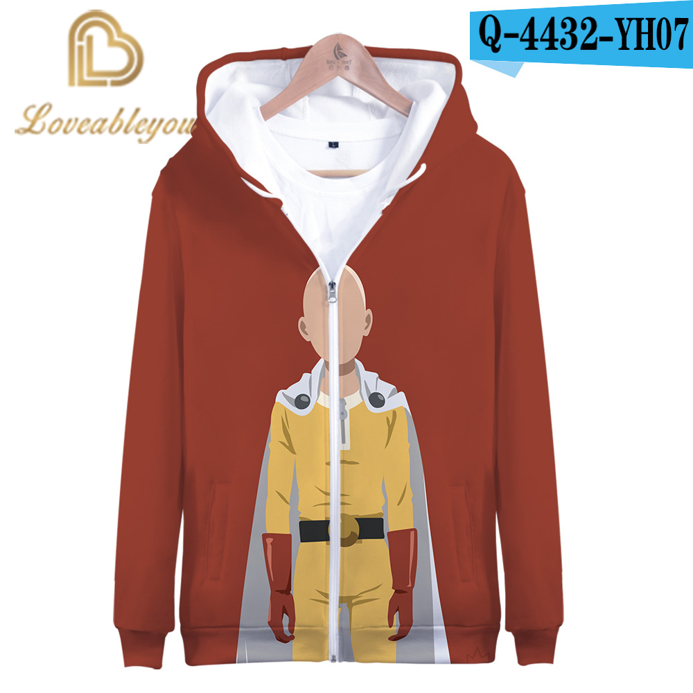 Mens One Punch Man Long Sleeve Hooded Sweat Shirt Pullover