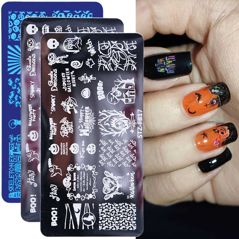 1 шт. пластины для штамповки ногтей Хэллоуин Череп Кость вампир Тыква Сделай Сам дизайн ногтей печать Шаблон трафарет LYBE/FB/XYS/XYE
