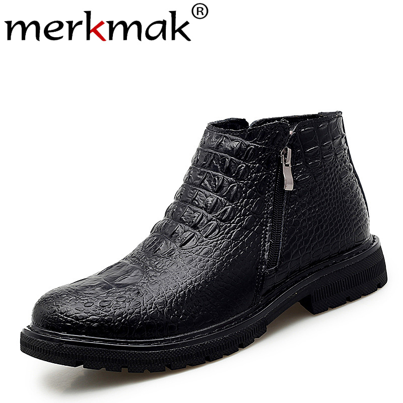 Merkmak Genuine Leather Men Shoes Fashion Crocodile Pattern Men Ankle Booties New Winter Leather Booties Big Size High-top Shoes