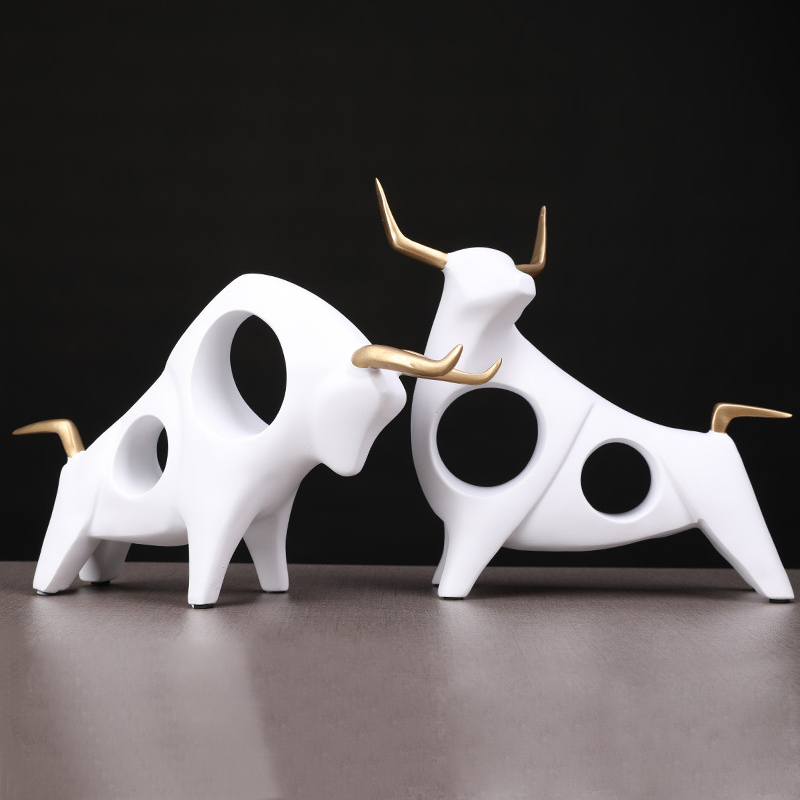 1 Pair 3D Bull Statue Home Decor Figurine Animal Abstract Sculpture Modern Room Table Decoration Art Decorative Resin Statues