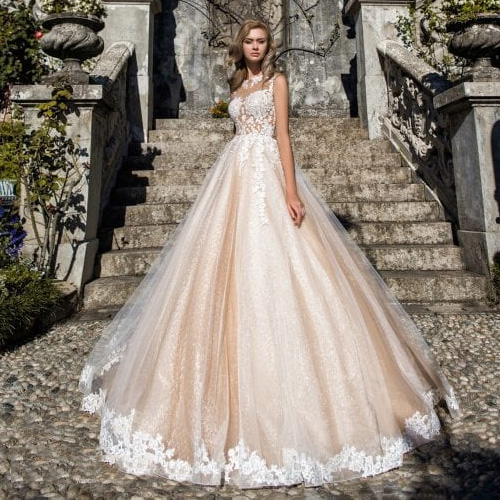 Thinyfull 2020 Sheer Illusion Champagne A Line Wedding Dresses Lace Applique Intage Vestidos Boda Bridal Gown